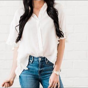 Rachel Parcell cream Annabelle blouse